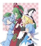 4girls arm_ribbon blonde_hair blue_eyes blue_hair bow braid cirno clenched_teeth closed_eyes dress front_ponytail green_hair grin hair_bobbles hair_bow hair_ornament hair_ribbon hands_on_hips hat hat_ribbon kagiyama_hina kawashiro_nitori kei_jiei key kirisame_marisa long_hair long_sleeves multiple_girls open_mouth ribbon shirt short_dress short_sleeves single_braid skirt smile teeth touhou twintails v v_arms wings yellow_eyes