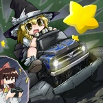 2girls blonde_hair chibi controller enhan ground_vehicle hakurei_reimu kirisame_marisa lowres monster_truck motor_vehicle multiple_girls oekaki remote_control touhou toy truck