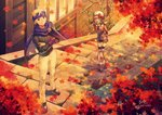 1boy 1girl :d arms_behind_back autumn autumn_leaves black_sweater blonde_hair blue_shorts bow brown_hair cape closed_eyes cropped_arms dappled_sunlight day full_body hair_bow hat headband kotone_(pokemon) leaf long_hair long_sleeves looking_at_viewer maple_leaf matsuba_(pokemon) ooki1089 open_mouth outdoors pants pokemon pokemon_(game) pokemon_hgss purple_cape purple_eyes red_bow red_shirt ribbed_sweater shirt short_shorts shorts smile standing sunlight suspender_shorts suspenders sweater thighhighs torn_cape torn_clothes twitter_username white_headwear white_legwear white_pants
