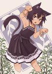1girl animal_ears armpits bracelet brown_dress brown_hair cat_ears character_request commentary copyright_request dark_skin dress fang feet_out_of_frame grey_eyes hair_ornament hairclip highres jewelry kaginoni leaning_forward open_mouth paw_pose plant sleeveless sleeveless_dress solo spaghetti_strap