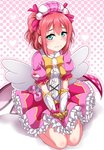1girl 3: angel_wings aqua_eyes bangs beret between_legs blush bow bowtie brooch center_frills commentary_request dress embarrassed frilled_dress frilled_skirt frills gloves granblue_fantasy hair_ribbon halftone halftone_background hand_between_legs hat heart jewelry kurosawa_ruby looking_at_viewer love_live! love_live!_sunshine!! outline pink_bow pink_ribbon pink_skirt ribbon seiza short_hair sitting skirt solo two_side_up waist_cape wings yellow_neckwear yopparai_oni