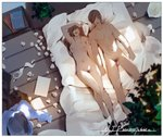 1boy 1girl after_sex arm_up arms_at_sides bangs bed bedroom blurry_foreground book book_stack bra bra_removed breasts brown_hair censored clothes_removed dako6995 faceless faceless_female faceless_male from_above hair_over_one_eye hand_on_own_head hetero highres holding_hands indoors knee_up long_hair lying male_pubic_hair medium_breasts messy_room moderate_pubic_hair mole mole_on_breast mosaic_censoring navel nipples no_eyes nude on_back on_bed open_mouth original penis pillow plant potted_plant pubic_hair signature sunlight swept_bangs teeth underwear used_tissue white_bra wooden_floor