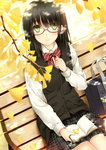 1girl autumn bag bench black_hair book bowtie clock_(clockart) dress_shirt ginkgo glasses green_eyes leaf light_smile long_sleeves looking_at_viewer original outdoors plaid plaid_skirt pleated_skirt reading shirt sitting skirt smile solo white_shirt