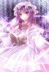1girl bad_id blush book capelet crescent dress floating_book glowing hair_ribbon hat kotonoman lights long_hair magic patchouli_knowledge pink_dress purple_eyes purple_hair ribbon solo star striped striped_dress touhou