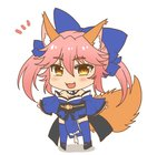 /\/\/\ 1girl afuro animal_ear_fluff animal_ears bare_shoulders blue_kimono blue_legwear blue_ribbon blush blush_stickers breasts chibi cleavage commentary commentary_request detached_sleeves eyebrows_visible_through_hair fangs fate/extra fate/grand_order fate_(series) fox_ears fox_girl fox_tail full_body hair_ribbon japanese_clothes kimono large_breasts long_hair looking_at_viewer open_mouth pink_hair ribbon solo standing surprised tail tamamo_(fate)_(all) tamamo_no_mae_(fate) white_background yellow_eyes