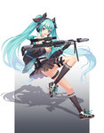 1girl aqua_eyes aqua_hair bipod black_gloves black_skirt bullpup dragunov_svu full_body gloves gun guozi_li hatsune_miku headphones highres jacket kneehighs knife long_hair open_mouth panties pleated_skirt rifle scope shoes single_glove skirt sneakers sniper_rifle solo suppressor thigh_strap twintails underwear very_long_hair vocaloid weapon