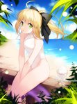 1girl ahoge artist_name artoria_pendragon_(all) bangs bare_arms bare_legs bare_shoulders beach between_legs black_bow blonde_hair blue_sky blurry bokeh bow breasts casual_one-piece_swimsuit closed_mouth cloud covered_collarbone cup day depth_of_field fate/unlimited_codes fate_(series) feet_out_of_frame floating_hair from_side glass green_eyes groin hair_bow halterneck hand_between_legs high_ponytail highleg highleg_swimsuit hill horizon innertube leaf legs_together looking_at_viewer medium_hair mouth_hold on_railing one-piece_swimsuit outdoors ponytail purple_innertube railing saber_lily shaved_ice sidelocks sideways_glance sitting sky small_breasts solo straight_hair swimsuit thighs transparent turtleneck v_arms vilor water white_swimsuit