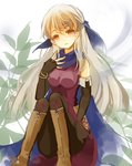 1girl bare_shoulders black_gloves black_legwear blue_scarf boots dress elbow_gloves fingerless_gloves fire_emblem fire_emblem:_akatsuki_no_megami gloves hair_ribbon half_updo leaf leaf_background long_hair micaiah open_mouth pantyhose ribbon sakuno_shion scarf silver_hair sitting sleeveless sleeveless_dress smile solo yellow_eyes