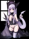 1girl :o aerodactyl areolae arm_belt ass ass_visible_through_thighs bangs bare_shoulders belt belt_buckle black_belt black_bow black_footwear black_nails black_panties blue_eyes bonnet boots bow breastless_clothes breasts bright_pupils buckle chain dinosaur_tail eyebrows eyebrows_visible_through_hair eyelashes eyes_visible_through_hair fingernails full_body fur_trim gen_1_pokemon green_eyes groin hair_bow heterochromia highres hime_(ohime_pkg) holding_tail horns jewelry kneeling legband legs_apart long_hair mega_aerodactyl mega_pokemon midriff nail_polish nipples open_mouth panties personification pokemon purple_bow purple_hair purple_legwear ring small_breasts solo straight_hair tail tail_raised thick_eyebrows thigh_strap thighhighs thong thumb_ring tongue underwear white_pupils window wristband