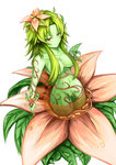 1girl alraune alraune_(monster_girl_encyclopedia) breasts cleavage flower green_hair green_skin hair_ornament hair_over_breasts highres large_breasts leaf long_hair monster_girl monster_girl_encyclopedia nectar plant_girl pointy_ears purple_eyes smile vines