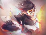 1girl asevc bangs black_gloves bomber_jacket brown_hair brown_jacket gloves goggles highres jacket lips overwatch parted_lips solo swept_bangs tracer_(overwatch) union_jack