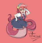 1girl 2017 ;d blush bow cosplay crossover eyebrows_visible_through_hair fang frilled_gloves frilled_sleeves frills gloves hair_between_eyes hair_ornament hairclip happy highres kobayashi-san_chi_no_maidragon lamia long_hair long_tail maid maid_headdress miia_(monster_musume) monster_girl monster_musume_no_iru_nichijou one_eye_closed open_mouth pointy_ears puffy_short_sleeves puffy_sleeves red_background red_bow red_hair scale short_sleeves simple_background slit_pupils smile snake_tail solo tail teeth tooru_(maidragon) tooru_(maidragon)_(cosplay) v white_gloves wulfsenn yellow_eyes