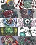 eyeball machine no_humans original pixel_art skeleton teeth tentacles tusika