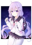 1girl absurdres alternate_costume azur_lane backpack bag black_sailor_collar black_skirt blush cardigan cellphone closed_mouth eyebrows_visible_through_hair hair_ornament highres holding holding_cellphone holding_phone long_hair long_sleeves looking_at_viewer low_twintails paaru pantyhose phone purple_eyes purple_hair sailor_collar school_uniform serafuku skirt smile solo twintails unicorn_(amusement_park_date)_(azur_lane) unicorn_(azur_lane) white_cardigan white_legwear x_hair_ornament