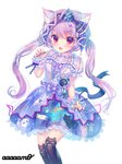 1girl :d amo animal_band_legwear animal_ears animal_print artist_name badge black_legwear black_nails blue_bow blue_dress blush bow button_badge cat_band_legwear cat_ears cat_print center_frills chain_necklace claw_pose commentary_request dress fang frilled_bow frills glitter hair_bow highres jewelry long_hair looking_at_viewer multicolored multicolored_clothes multicolored_dress nail_polish neck_ribbon open_mouth original over-kneehighs overskirt paw_pose pendant print_dress purple_dress purple_eyes purple_hair purple_neckwear ribbon sash simple_background skirt_hold smile solo sparkle thighhighs twintails v-shaped_eyebrows white_background wrist_cuffs