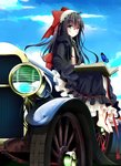 1girl absurdres barefoot black_dress blue_eyes blush book bow bug butterfly car cloud commentary_request day dress gothic_lolita ground_vehicle hair_bow highres insect lolita_fashion long_hair motor_vehicle original outdoors reading ribbon shiqimu sitting sky smile solo toes