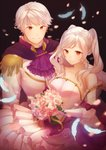 1boy 1girl aftergardens black_background bouquet bow bride closed_mouth commentary cravat dress feathers female_my_unit_(fire_emblem:_kakusei) fire_emblem fire_emblem:_kakusei flower formal gloves holding holding_bouquet long_sleeves male_my_unit_(fire_emblem:_kakusei) my_unit_(fire_emblem:_kakusei) petals see-through short_hair simple_background strapless strapless_dress twintails white_dress white_gloves white_hair