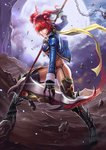 1girl boots breasts chain cloud dantewontdie garter_straps gloves hair_ornament highres jacket looking_at_viewer moon onozuka_komachi open_clothes open_jacket red_eyes red_hair scythe short_hair solo thighhighs touhou twintails underboob
