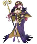 1girl bare_shoulders belt braid breasts cleavage dress earrings feather_trim fire_emblem fire_emblem_heroes full_body fur_trim garter_straps hand_on_hip hat high_heels highres holding holding_staff jewelry large_breasts lips lipstick loki_(fire_emblem_heroes) long_hair long_sleeves looking_at_viewer maeshima_shigeki makeup nail_polish official_art purple_dress purple_eyes purple_hair side_slit smile solo staff standing transparent_background wide_sleeves