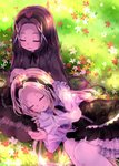 2girls 54hao bangs black_bow black_hair black_hairband black_shirt black_skirt blonde_hair blush bow brown_legwear closed_eyes closed_mouth commentary_request day flower forehead grass hair_ornament hairband hand_on_another's_head highres lap_pillow long_hair long_sleeves lying multiple_girls on_grass on_side original outdoors pantyhose parted_bangs parted_lips red_flower red_rose rose shirt siblings sisters skirt sleeves_past_wrists smile twins very_long_hair white_flower white_legwear white_shirt x_hair_ornament yellow_flower