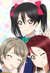 3girls \m/ black_hair circle_cut closed_eyes finger_to_mouth grey_hair kazuma_(theworld000021) long_hair love_live! love_live!_school_idol_festival_all_stars love_live!_school_idol_project love_live!_sunshine!! multiple_girls nakasu_kasumi one_eye_closed perfect_dream_project red_hair sakurauchi_riko short_hair tongue tongue_out twintails upper_body yazawa_nico