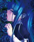 1girl bangs blue_eyes blue_flower blue_hair blue_rose dress eyes_visible_through_hair flower frederica_bernkastel frills leaf licking long_hair long_sleeves looking_at_viewer natsumi_kei official_art open_mouth puffy_long_sleeves puffy_sleeves rose sexually_suggestive solo tongue tongue_out umineko_no_naku_koro_ni yonic_symbol