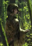 1girl bamboo bamboo_forest black_eyes black_hair blurry blurry_background bob_cut day forest highres japanese_clothes katana kimono looking_to_the_side nature original outdoors rsef sheath sheathed short_hair standing sword weapon wide_sleeves