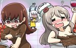 !? 3girls alcohol apron black_legwear blush brown_eyes brown_hair check_commentary chocolate closed_eyes commentary_request cup drinking_glass drooling drunk empty_eyes hair_ribbon hamu_koutarou hat headgear highres kantai_collection long_hair mini_hat multiple_girls murakumo_(kantai_collection) nude ooi_(kantai_collection) open_mouth pantyhose pola_(kantai_collection) red_ribbon ribbon silver_hair smile translated tress_ribbon white_hat wine wine_glass yellow_apron