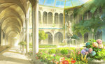 arcade_(architecture) arch architecture column commentary conservatory courtyard day flower fountain garden hallway indoors light_particles mugon no_humans original pillar plant potted_plant scenery shadow sky statue sunlight vaulted_ceiling vines water