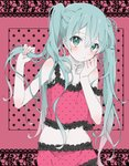 1girl :/ aqua_hair azuki_(ckxs7444) bare_shoulders black_frills blush camisole collarbone flat_chest frill_trim hair_grab hatsune_miku highres lace_background long_hair looking_at_viewer messy_hair midriff navel pink_background pink_camisole playing_with_own_hair polka_dot polka_dot_background polka_dot_camisole romeo_to_cinderella_(vocaloid) solo sparkling_eyes twintails vocaloid