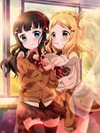 2girls :t arms_around_neck bangs black_hair blonde_hair blue_eyes blunt_bangs blush braid brown_cardigan cardigan_around_waist crown_braid curtains earmuffs food green_eyes hair_ornament hair_rings hairclip heart_hair_ornament kurosawa_dia long_hair love_live! love_live!_sunshine!! miniskirt mole mole_under_mouth mouth_hold multiple_girls ohara_mari pipette1223 plaid plaid_skirt pocky school_uniform scrunchie skirt striped_neckwear window wrist_scrunchie x x_hair_ornament yuri