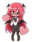 1girl ;3 ;d >_o bat_wings bespectacled black_legwear blush chibi commentary_request dress_shirt eyebrows_visible_through_hair full_body glasses hands_together head_wings heart juliet_sleeves koakuma long_hair long_sleeves looking_at_viewer low_wings necktie not_on_shana one_eye_closed open_mouth pantyhose pointy_ears puffy_sleeves red-framed_eyewear red_eyes red_hair red_neckwear semi-rimless_eyewear shirt simple_background skirt skirt_set smile solo standing touhou very_long_hair vest white_background white_shirt wings
