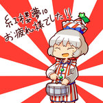 1girl alternate_costume brown_hair chibi convention_greeting drum hat instrument jirousan21 lyrica_prismriver open_mouth rising_sun short_hair smile solo star touhou