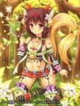 1girl animal_ears bell black_legwear brown_hair bug butterfly dai_seisen!_valkyrie_saga flat_chest flower forest garter_belt hair_flower hair_ornament heart insect jewelry jingle_bell medium_hair nature navel official_art original pendant purple_eyes smile solo star suzuame_yatsumi tail