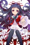 1girl bangs black_legwear bow fingernails flower frilled_skirt frills gradient gradient_eyes higanbana_(higanbana_no_saku_yoru_ni) higanbana_no_saku_yoru_ni highres kamaboko_red long_fingernails long_hair looking_at_viewer multicolored multicolored_eyes outstretched_hand purple_eyes purple_hair red_eyes ribbon sitting skirt smile solo spider_lily thighhighs transparent_background