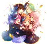 5girls aqua_hair bang_dream! bangs black_flower black_hair black_rose blue_flower blue_rose blurry blush brown_hair closed_eyes commentary_request confetti crying detached_sleeves dress earrings feathers flower frilled_sleeves frills group_hug hair_feathers hair_flower hair_ornament highres hikawa_sayo hug imai_lisa izu_(izzzzz27) jewelry lace-trimmed_sleeves lace_choker lavender_hair long_hair minato_yukina multiple_girls no_legs one_eye_closed open_mouth ponytail purple_eyes purple_hair rose roselia_(bang_dream!) shirokane_rinko smile tears twintails udagawa_ako wiping_tears yellow_eyes