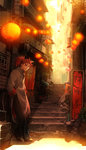 1boy chinese_clothes cityscape fate/extra fate_(series) full_body hands_in_pocket highres lantern leaning_on_object li_shuwen_(fate) looking_at_viewer male_focus pants paper_lantern ponytail red_hair shoes solo tetsukuzu_tetsuko