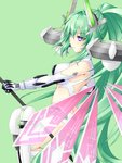 1girl ass bangs bare_shoulders breasts butt_crack choujigen_game_neptune closed_mouth detached_wings elbow_gloves eyebrows eyebrows_visible_through_hair gloves green_hair green_heart grey_background hair_between_eyes hair_intakes headgear high_ponytail holding holding_spear holding_weapon joney large_breasts long_hair multiple_wings neptune_(series) pink_wings polearm power_symbol purple_eyes see-through simple_background smile solo spear symbol-shaped_pupils thighhighs very_long_hair weapon white_gloves white_legwear wings