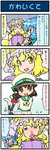 /\/\/\ 3girls 4koma =_= alternate_costume artist_self-insert blonde_hair blood blue_hair blush bow brown_eyes brown_hair chen closed_eyes clothes_writing comic commentary cosplay error_musume error_musume_(cosplay) fox_tail giving_up_the_ghost hands_in_pockets hat hat_with_ears highres kantai_collection long_sleeves mizuki_hitoshi multiple_girls multiple_tails nosebleed open_mouth real_life_insert school_uniform serafuku shocked_eyes smile so_moe_i'm_gonna_die! surprised tail tail_bow tatara_kogasa touhou translated turn_pale yakumo_ran yellow_eyes