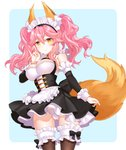 1girl \n/ animal_ears apron bangs black_bow black_dress blue_background blush bow bow_panties breasts brown_legwear closed_mouth commentary_request cowboy_shot detached_sleeves dress eyebrows_visible_through_hair fate/grand_order fate_(series) fox_ears fox_girl fox_tail frilled_apron frilled_legwear frills hair_between_eyes highres large_breasts long_hair long_sleeves maid maid_headdress panties pink_hair pleated_dress shiosoda sleeveless sleeveless_dress smile solo tail tamamo_(fate)_(all) tamamo_no_mae_(fate) thighhighs twintails two-tone_background underwear waist_apron white_apron white_background white_panties yellow_eyes