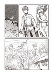 1boy 774_(nanashi) back-to-back belt breasts cape closed_mouth comic drawing glasses hachiouji highres ijiranaide_nagatoro-san lined_paper mechanical_pencil medium_breasts monochrome open_mouth over-rim_eyewear pencil semi-rimless_eyewear short_hair silent_comic smile solo sword weapon