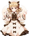 1girl black_bow blonde_hair book bow brown_eyes dress drill_hair eyebrows_visible_through_hair fairy_wings frilled_dress frills hair_between_eyes hat highres index_finger_raised juliet_sleeves long_hair long_sleeves looking_at_viewer luna_child puffy_sleeves ruu_(tksymkw) simple_background solo touhou white_background wide_sleeves wings