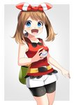1girl :d absurdres bike_shorts black_shorts blue_eyes bow brown_hair collarbone cowboy_shot grey_background hair_bow hairband haruka_(pokemon) highres holding holding_poke_ball long_hair looking_at_viewer open_mouth poke_ball pokemon pokemon_(game) pokemon_oras red_hairband red_shirt shirt short_shorts shorts shorts_under_shorts sleeveless sleeveless_shirt smile solo standing striped striped_bow twintails two-tone_background white_background white_shorts yellow_belt yuihiko
