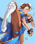 1girl blue_background blue_dress blush_stickers bracelet brown_eyes brown_hair brown_legwear bun_cover china_dress chinese_clothes chun-li commentary cross-laced_footwear double_bun dress earrings english_commentary fighting_stance highres jewelry law_kim looking_at_viewer pantyhose pelvic_curtain plantar_flexion puffy_short_sleeves puffy_sleeves sash short_eyebrows short_sleeves signature solo spiked_bracelet spikes standing standing_on_one_leg street_fighter thick_thighs thighs upskirt white_footwear