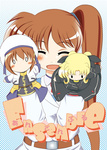 0_0 1girl blonde_hair blush brown_hair character_doll chibi closed_eyes coat cover cover_page fate_testarossa hair_ornament hand_puppet jacket lyrical_nanoha magical_girl mahou_shoujo_lyrical_nanoha_strikers military military_uniform open_clothes open_jacket puppet red_hair sch side_ponytail smile solo takamachi_nanoha tsab_air_military_uniform twintails uniform waist_cape x_hair_ornament yagami_hayate