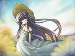 1girl bare_shoulders closed_eyes dress flower hand_on_headwear kuroya_kei long_dress long_hair open_mouth original petals purple_hair sky smile solo strap_slip sunflower very_long_hair wind