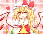 1girl ;d ascot blonde_hair blush flandre_scarlet hat laughing long_hair looking_at_viewer one_eye_closed open_mouth red_eyes short_hair side_ponytail smile solo touhou wings wrist_cuffs yuria_(kittyluv)