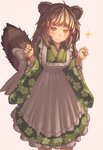 +_+ 1girl ahoge animal_ears apron arms_at_sides arms_up bangs blush brown_hair commentary dot_nose dress feet_out_of_frame floral_print green_dress green_kimono japanese_clothes kimono lolita_fashion long_hair long_sleeves looking_at_viewer original osabachan raccoon_ears raccoon_tail smile solo sparkle sparkling_eyes standing tail v-shaped_eyebrows w_arms wa_lolita wide_sleeves yellow_eyes