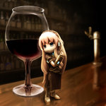 1girl alcohol bar cup drinking_glass figure glass highres long_hair megurine_luka minigirl nekoita solo very_long_hair vocaloid wine wine_glass