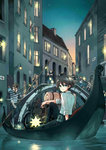 6+boys 6+girls arm_support black_hair blonde_hair blurry boat bridge brown_hair child city closed_eyes crossed_arms depth_of_field dusk gondola green_eyes ground_vehicle hat hermes highres kino kino_no_tabi lantern long_hair looking_back mare_(pixiv) mother_and_daughter motor_vehicle motorcycle multiple_boys multiple_girls old_man plant pouch railing river running scenery sign sitting smile star star_(sky) suspenders vines water watercraft waving window